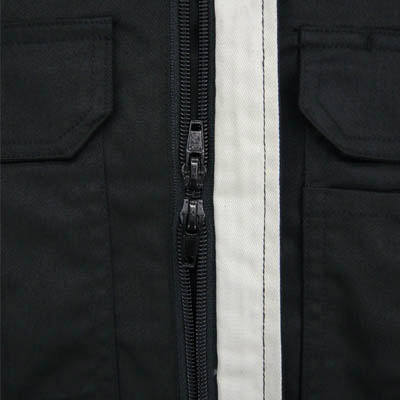カジメイク T/C長袖股ハギつなぎ服 ブラック L 6609 (取寄品)