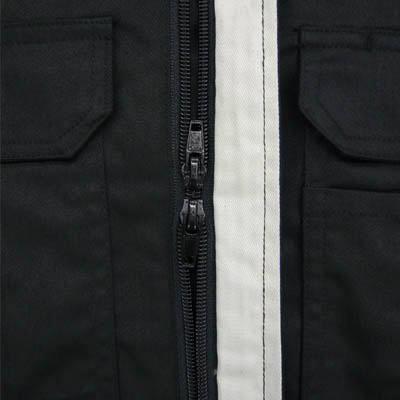 カジメイク T/C長袖股ハギつなぎ服 ブラック S 6609 (取寄品)