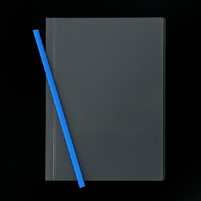 アスクル レール式クリアーホルダー A4タテ 50枚とじ ブルー 100冊