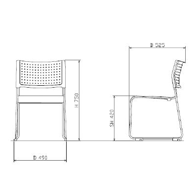 アイリスチトセ ミーティングチェア樹脂タイプ ホワイト/ピンク 4脚セット (直送品)