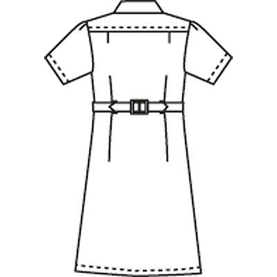 フォーク ワンピース半袖 L ホワイト 2723-1 (直送品)