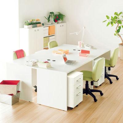 Composad マウロラインデスク 収納付サイドテーブル  ホワイト  幅400×奥行1100×高さ700mm  1台