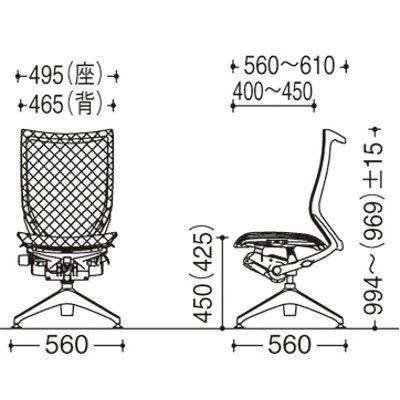 CP55ER FDH3 バロンオートリターン ハイバック 肘無 背・座スタンダード ポリッシュ×ブラック ライトグレー(直送品)