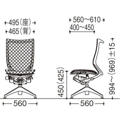 CP55GR FDH6 バロンオートリターン ハイバック 肘無 背・座スタンダード ポリッシュ×ブラック ライムグリーン(直送品)