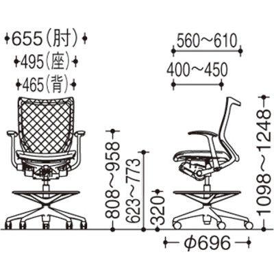 バロン ハイチェア ローバック 固定肘 背スタンダード・座クッション ポリッシュ×ブラック ライムグリーン CP58BR FDF6(直送品)
