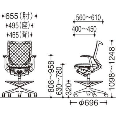 バロン ハイチェア ローバック 固定肘 背・座スタンダード シルバー×ホワイト ブラック CP58CW FDH1(直送品)