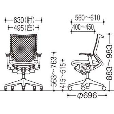 バロン チェア EXハイバック 固定ヘッドレスト 可動肘 背グラデーションメッシュ座クッション ポリッシュ×ブラック ライムグリーン CP88BRFG(直送品)