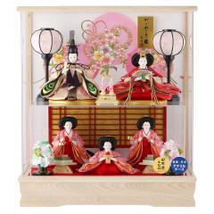 雛人形 コンパクト ひな人形 雛 ケース飾り 五人飾り 二階建て飾り 藤翁作 みゆき 日本産木製枠 アクリルケース オルゴール付 【2019年度新作】 h313-fn-193-540nr