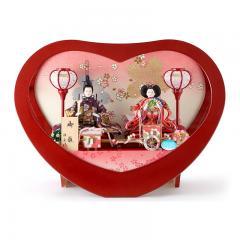 雛人形 コンパクト ひな人形 雛 ケース飾り 親王飾り ハート 芥子親王 アクリルケース 【2019年度新作】 h313-tkc-33246