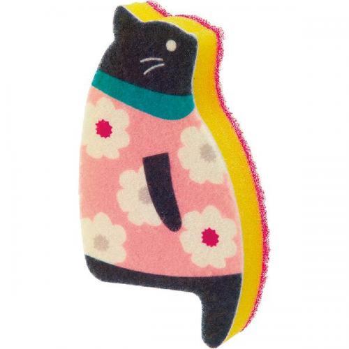 【212キッチンストア】 K575A おすわりスポンジ ネコ A・花柄 ピンク