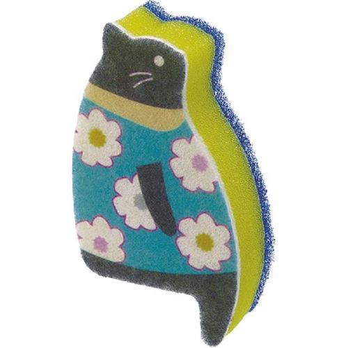 【212キッチンストア】 K639B おすわりスポンジ 子ネコ 花柄 ブルー