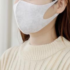 フラワー柄洗える抗菌マスク3枚セット/女性向けMサイズ/ホワイト/―