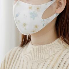 水彩フラワー柄洗える抗菌マスク3枚セット/女性向けMサイズ/イエロー/―