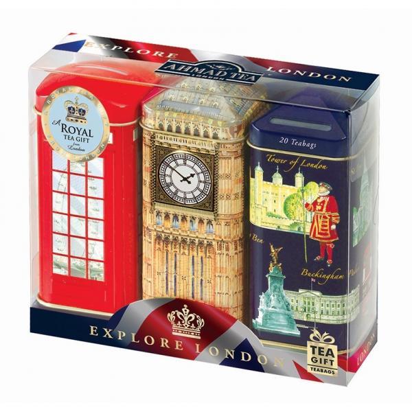【数量限定】アーマッドティー エクスプロアロンドン 貯金箱缶3缶セット