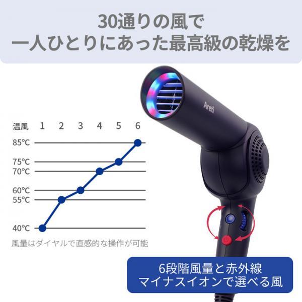 Areti モイスト ヘアケア ドライヤー Kozou d1621IDG 赤外線LED マイナスイオン ハンズフリー 折りたたみ 海外対応