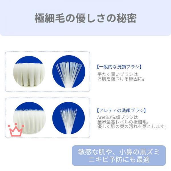 電動洗顔ブラシ 角質 黒ずみ ホワイト 白 アレティ 回転式 防水 電池式 w04-SMP Wash Areti