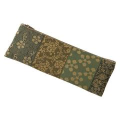 数珠袋 ペンケース型(綿) 横段 グリーン
