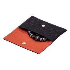 新名物裂 蓋付念珠入 黒地黒 宗薫緞子紋 数珠袋