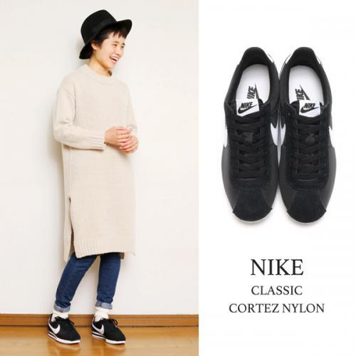 NIKE CLASSIC CORTEZ NYLON(ナイキ クラシック コルテッツ ナイロン)BLACK/WHITE【メンズ レディース スニーカー】16FA-I