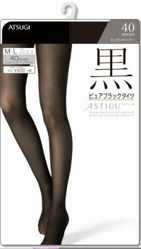 ASTIGU(アスティーグ) 【黒】 ピュアブラックタイツ 40デニール