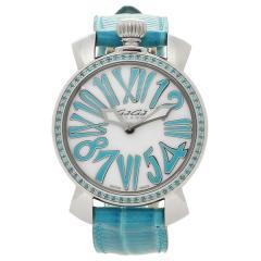 605af6c09b ガガミラノ 腕時計 メンズ レディース GAGA MILANO 6025.03 ホワイトパール ブルー シルバー