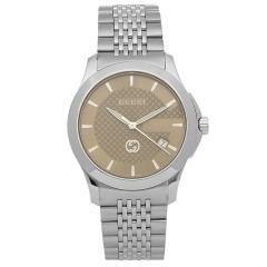 80a583502783 【P10倍】 グッチ 腕時計 メンズ GUCCI YA1264107 シルバー ブラウン 【10%OFFクーポン