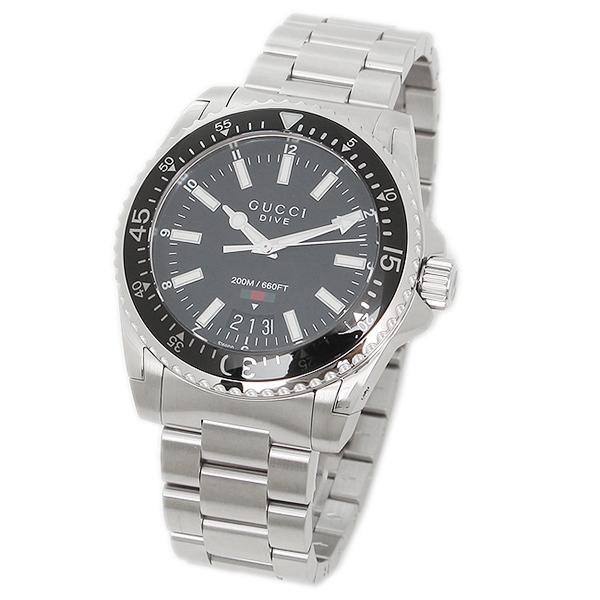 グッチ 腕時計 メンズ GUCCI YA136301 ブラック シルバー