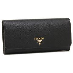 プラダ 財布 レディース PRADA 1MH132 QWA F0002 SAFFIANO METAL ORO 長財布 NERO