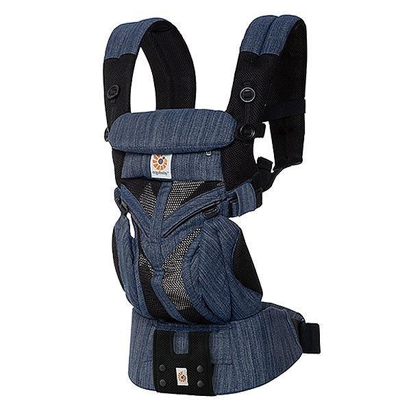 ERGO BABY ベビーキャリアOMNI360クールエア インディゴウィーブ 最新ウエストベルト付  エルゴベビー Ergobaby OMNI 360 メッシュ クールエアータイプ 抱っこ紐 抱っこひも 正規品2年保証