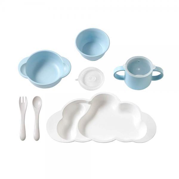 【ラッピング可】【おのしがけ可】10mois(ディモア) mamamanma grande(マママンマ グランデ)セット ブルー お食事セット ベビー食器 離乳食 雲の形 出産祝い 耐熱 フィセル 日本製 正規品2年保証【n】