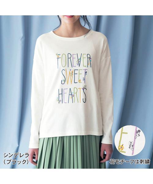 刺繍入り長袖Tシャツ ミッキー&ミニー(オフホワイト) S