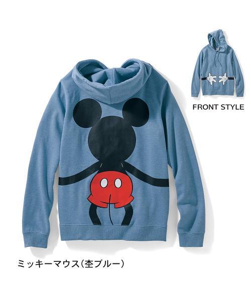 ミニ裏毛パーカ(レディース) ミッキーマウス(杢ブルー) S