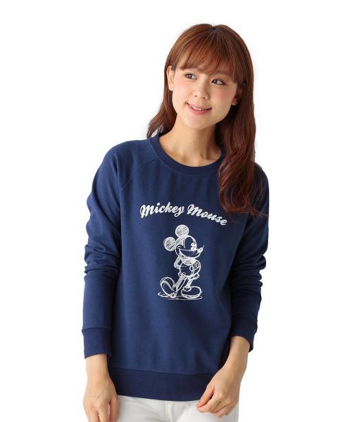 ミニ裏毛プルオーバー(レディース) ミッキーマウス(ネイビー) SS