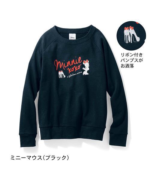 ミニ裏毛プルオーバー(レディース) ミニーマウス(ブラック) SS