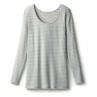 あったかインナー・綿混長袖レディース杢グレー×オフホワイト(ボーダー)