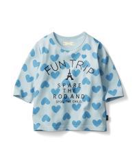 名札付けポイント付き七分袖Tシャツ サックス 150