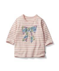 名札付けポイント付き七分袖Tシャツ ピンクボーダー 130