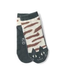 足底濃色靴下(ショート丈) チャコールネコ 22~24