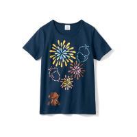 プリントTシャツ(レディース) チップ&デール(ネイビー) 3L
