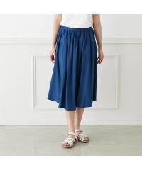 リネン混スカート ブルー M