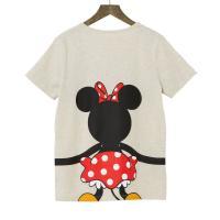 【Disney】ディズニー  つながるプリントTシャツ(レディース)  ミニーマウス(オートミール)  LL