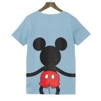 【Disney】ディズニー  つながるプリントTシャツ(レディース)  ミッキーマウス(ブルー)  3L