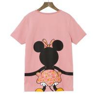 【Disney】ディズニー  つながるプリントTシャツ(レディース)  ミニーマウス(ピンク)  LL