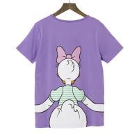 【Disney】ディズニー  つながるプリントTシャツ(レディース)  デイジーダック(パープル)  3L