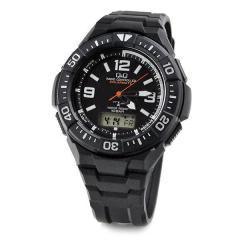 Q&Q ソーラー電波時計 メンズ 腕時計 MD06-305 ブラック&ホワイト