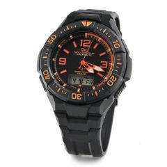 Q&Q ソーラー電波時計 メンズ 腕時計 MD06-315 ブラック&オレンジ