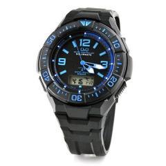 Q&Q ソーラー電波時計 メンズ 腕時計 MD06-335 ブラック&ブルー