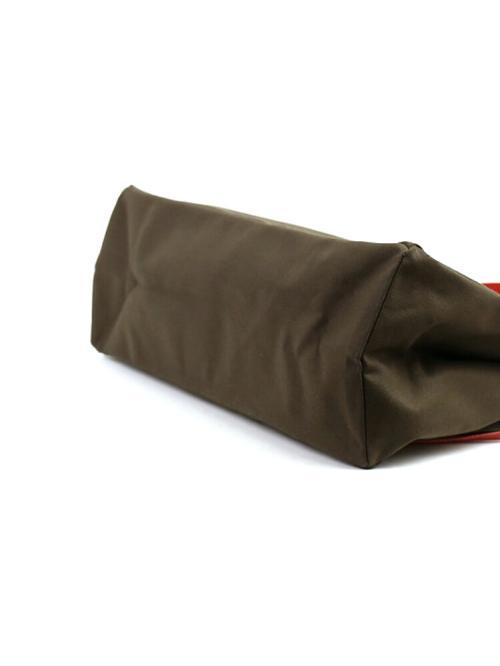 IL BISONTE イルビゾンテ コットンキャンバス レザー  サイドリボン付き トートバッグ 5432302920 F(フリー) ヌメ×ブラック(4)