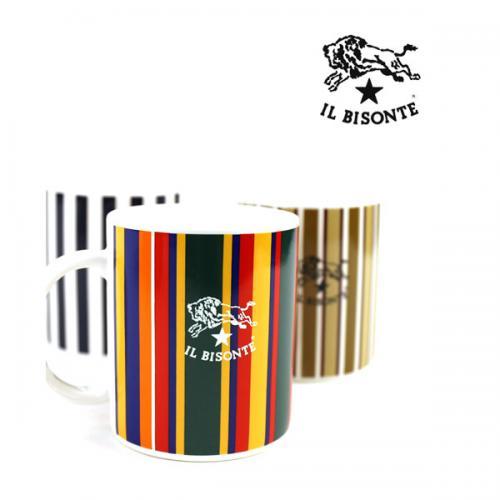 イルビゾンテ IL BISONTE ロゴ入り ストライプ柄 マグカップ・5432404198 F(フリー) マルチストライプ(17)