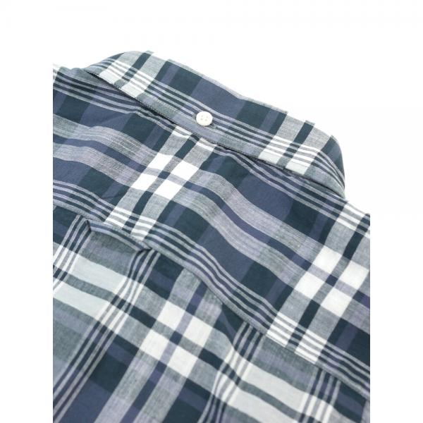 Gymphlex ジムフレックス コットン マドラスチェック パフスリーブ 半袖 ボタンダウンシャツ J-0645BGM 16(L) IVORY×YELLOW(IVYE)